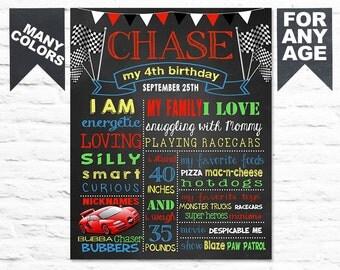 Race Car Chalkboard Sign Printable - Boy Birthday chalk board - Race Car First Birthday Party - Custom birthday poster banner (260)