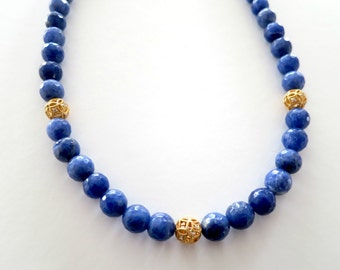 blue statement necklace, blue bead necklace, blue necklace, blue gemstone necklace, gemstone necklace, gemstone beaded necklace