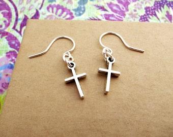Silver Cross Earrings- Hypoallergenic Dangle earrings- Cross dangle earrings- Small Dainty Earrings