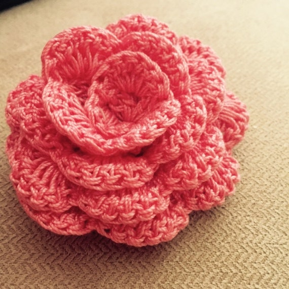 Crochet Rose Hair Clip Pattern : Crochet Rose Pattern - Crochet Pattern for hair bands and Home ...
