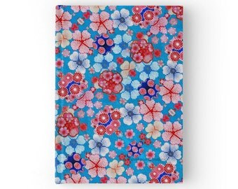 Hard Cover Journal Blue Cascading Floral Chirimen