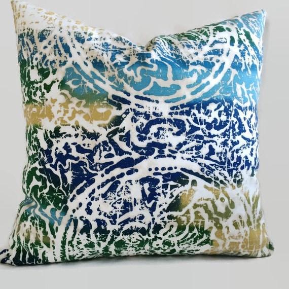 Yellow Beach Throw Pillows : Beach Ocean Pillow Caribbean Pillow Blue Green Yellow