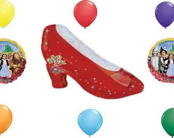 9 pc Wizard of oz Ruby Slipper set Birthday Balloon Bouquet