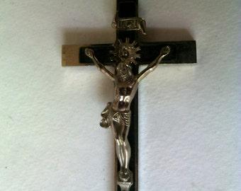 Antique  German Pectoral Crucifix  Ebony and Silver