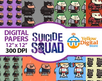 70% Off SALE SUICIDE SQUAD Digital Paper Pack, Digital Papers, 11 pdf files 12 x 12 - Instant Download