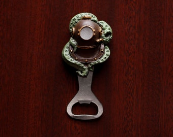 Diving Helmet with Tentacles bottle opener (hand painted)