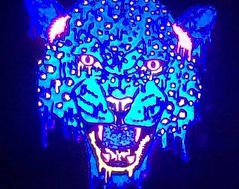 Psychedelic leopard hat pin by APSketches - glow in the dark and black light reactive