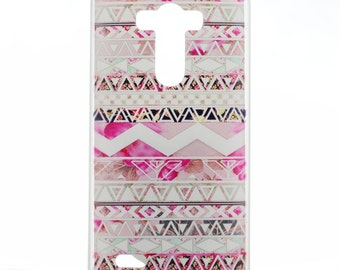 LG G4 Case Cover Pink Geometric Hard Plastic LG Back Cover Tribal Case G4 Snap On Case Slim Pattern 7312