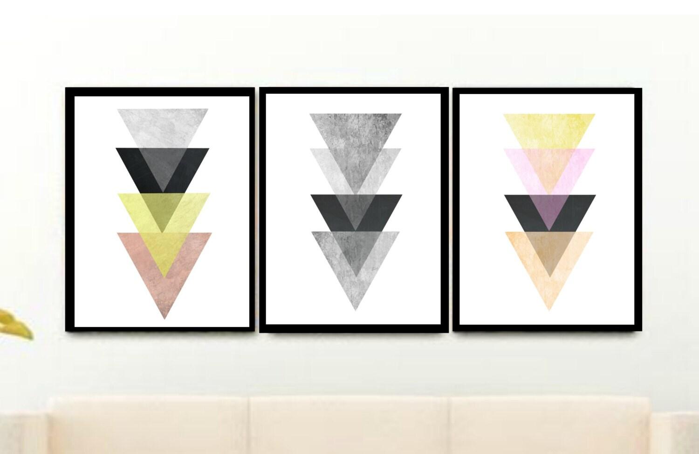 art scandinave triptyque art g om trique art imprimable. Black Bedroom Furniture Sets. Home Design Ideas