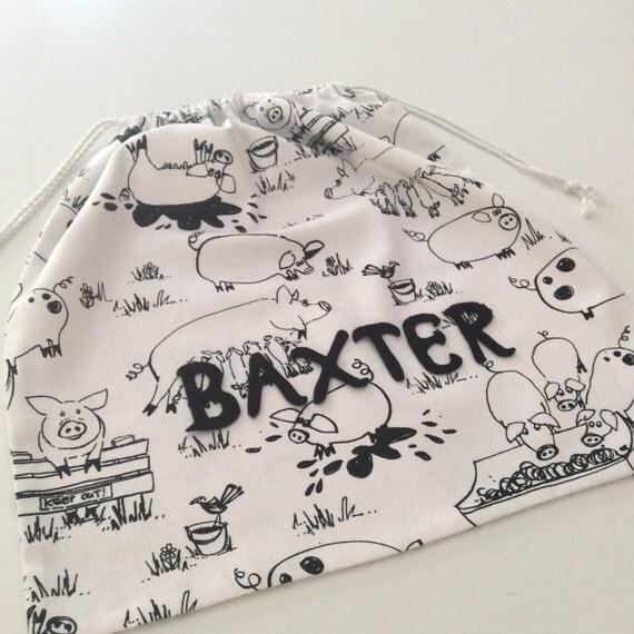 Personalised Unisex Drawstring Library Bag, Black & White Playful Pigs 45cm x 42cm