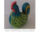 Ardco Colorful Ceramic Rooster Figurine Mid Century Kitsch