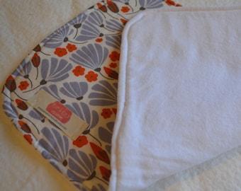 Organic cotton breezy floral blue handmade baby burp cloth