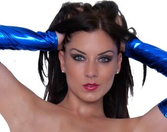 Metallic Blue Armwarmers Gauntlets Sleeves Fingerless Gloves Fancy Dress Party Spandex Lycra Shiny Dancer Clubwear G140