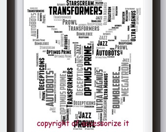A4 or 5x7 Size Personalised Transformers Logo Word Art Print *Cute Gift Idea *Superhero* Digital File Also Available