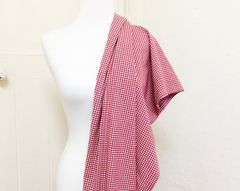 Cotton Spandex // Red Gingham // Lightweight stretch woven cotton