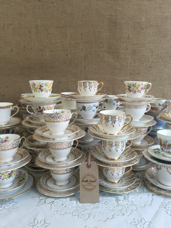 Job Lot Vintage China - 40 Matching China Tea Trios for Weddings / Mix and Match China Tea Cups, Saucers and Side Plates for Events