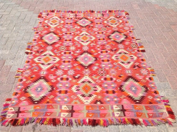 "6'9"" x 4'9"", Very Unique Turkish kilim rug, area rug, kilim rug, vintage rug, bohemian rug, Turkish rug, large rugs"