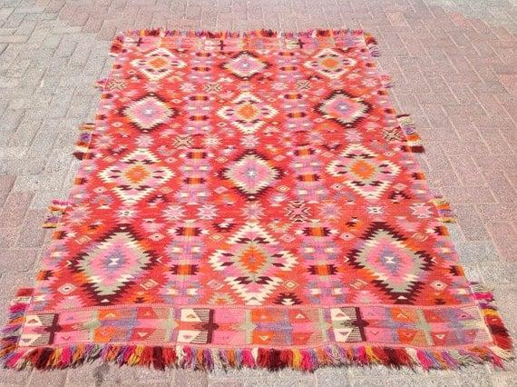 """6'9"""" x 4'9"""", Very Unique Turkish kilim rug, area rug, kilim rug, vintage rug, bohemian rug, Turkish rug, large rugs"""