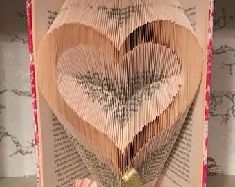 Folded book art heart