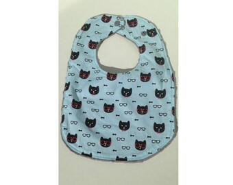 Minky baby bib, 100% cotton cat print, grey and blue.