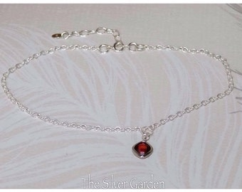 Red Crystal Ankle Bracelet, Silver Anklet, Red Anklet, Charm Ankle Bracelet, Red Anklet, January Birthday, Mothers Day, Valentines Day, Gift