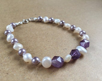 Fresh water pearl and amethyst bracelet