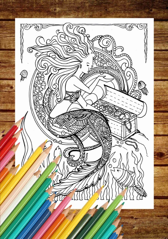 fantasy coloring page mermaid coloring book pages printable adult coloring art therapy mermaid coloring pages instant download print - Fantasy Coloring Books