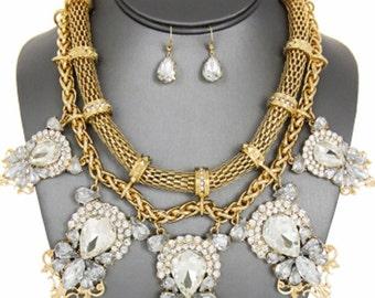 Victorian Gold  Multi-Strand  Rhinestone Necklace Set