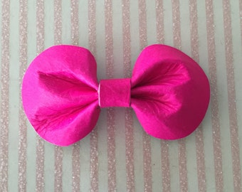 Hot Pink Leather Hair Bow