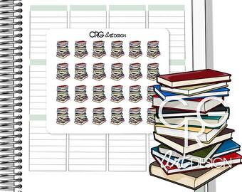 Book Pile Stickers | Planner Erin Condren Plum Planner Filofax Sticker