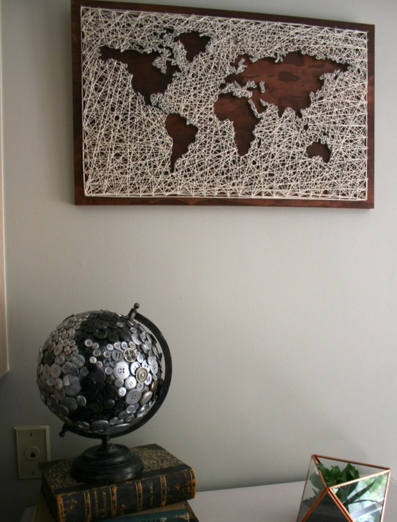 world map wall art string art map world map art map wood sign travel artwork wanderlust world map string art