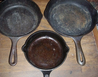 3 Cast iron Frying Pans