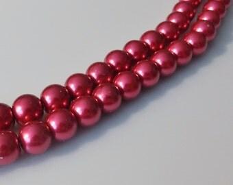 "Fuchsia 10mm Round Glass Pearl Beads (32"" Strand)"
