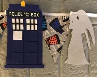 Doctor Who Banner/ Dalek Banner/ Whovian Party/ Dr. Who Party/ Tardis Banner/ Doctor Who Birthday Party/ Adipose/ Cyberman/ Weeping Angel