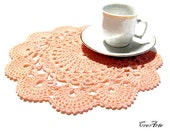 Salmon Crochet Doily, Handmade Doily, Round Doily, Small Doily, Centrino salmone piccolo (Cod.3)