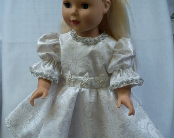 """White Floral Print Party Dress for 18"""" doll"""