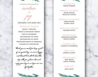 Watercolour Leaf Wedding Program - PRINTABLE