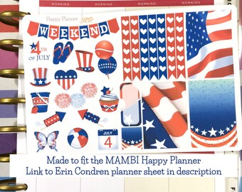 Happy Planner Fourth of July 4th sampler Stickers - americana fourth july flag summer red white blue