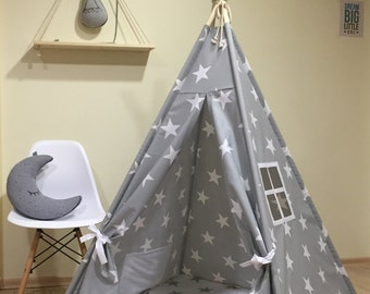 Tipi , Play Tent Teepee Cozy Grey Stars ,Kids Teepee Play Tent Grey Stars , childrens teepee, tipi tent, playhouse nursery ,grey teepee