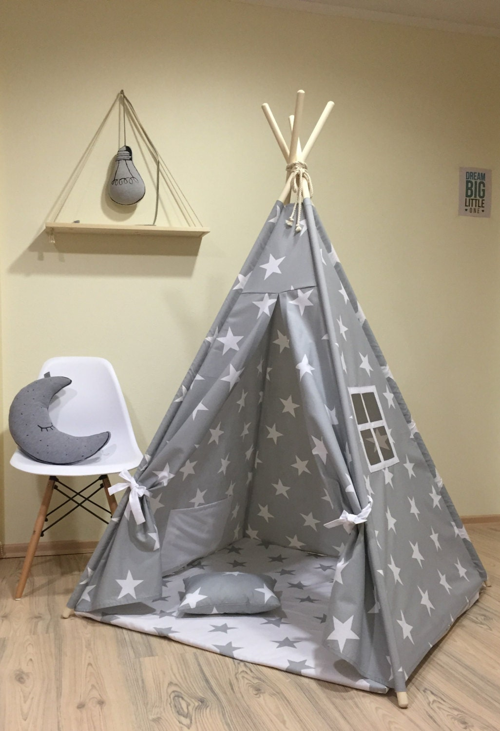 tipi play tent teepee cozy grey stars kids teepee play tent. Black Bedroom Furniture Sets. Home Design Ideas