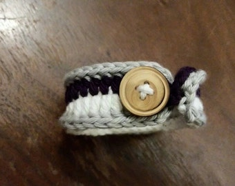 Purple/Gray/White Crochet Bracelet