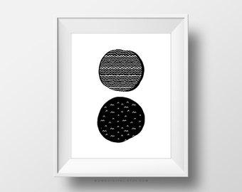 SALE -  Scandinavian, Black White Poster, Circle Drawing, Geometric Pattern, Modernism, Contemporary, Minimalism Design, Home Decor