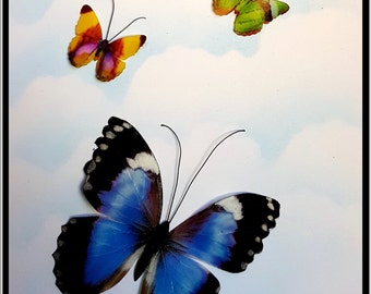 Morpho Violacea butterfly with little friends (White) All cards are crafted with recycle paper