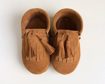 Brown suede moccasins  Infant, newborn, toddler shoes