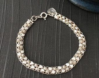 Sterling Silver links bracelet vintage 925 hearts stars romantic spiky