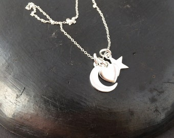 "Heart star moon 3 charm sterling silver pendant on 18"" sterling silver chain 925 necklace"