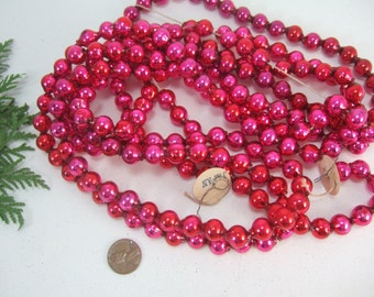Vintage Red Pink Larger Mercury Glass Single Bead Christmas Tree Garland- 8 Feet