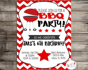 BBQ Birthday Invitation, Barbecue Birthday Invitation, Summer Birthday Celebrations, Summer Birthday Invitation-Printable Invitation