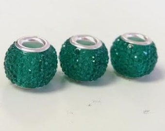 3 Green Textured European Beads Spacers Fits European Style Charm Bracelets -2W