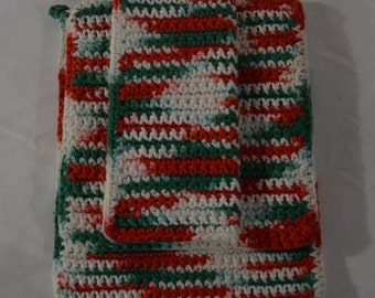 Crochet Pot Holder Set Handmade Red White Green 3pc Kitchen Accessories Dish Cloth, Pot Holders Cooking Accessories Holiday Seasonal